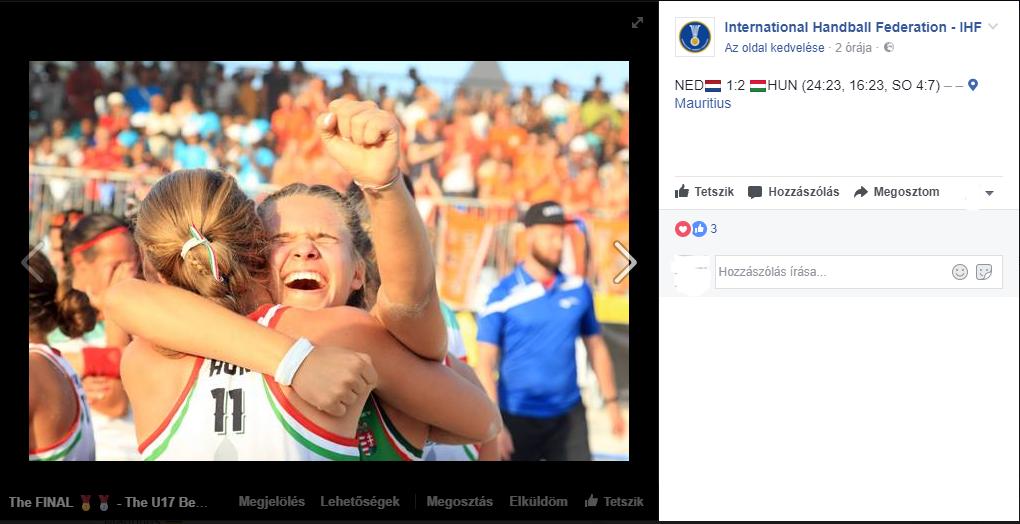 Képernyőfotó:  International Handball Federation - IHF Facebook-oldala