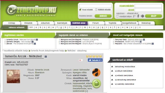 Képernyőfotó: zeneszoveg.hu, szerk.